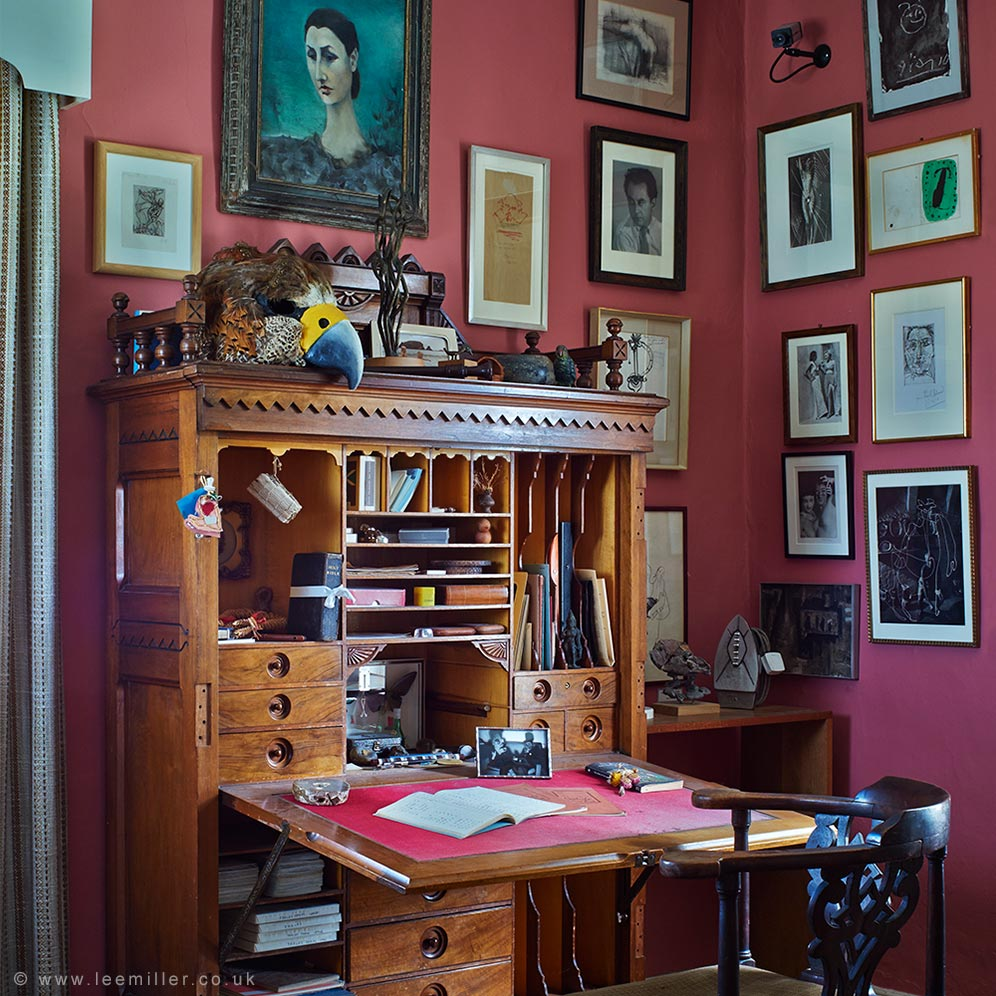 Desk and artworks displayed in Roland Penrose's study at Farleys