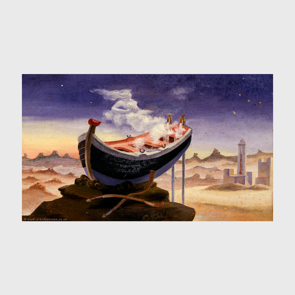 Surreal painting by Roland Penrose of a bath boat.