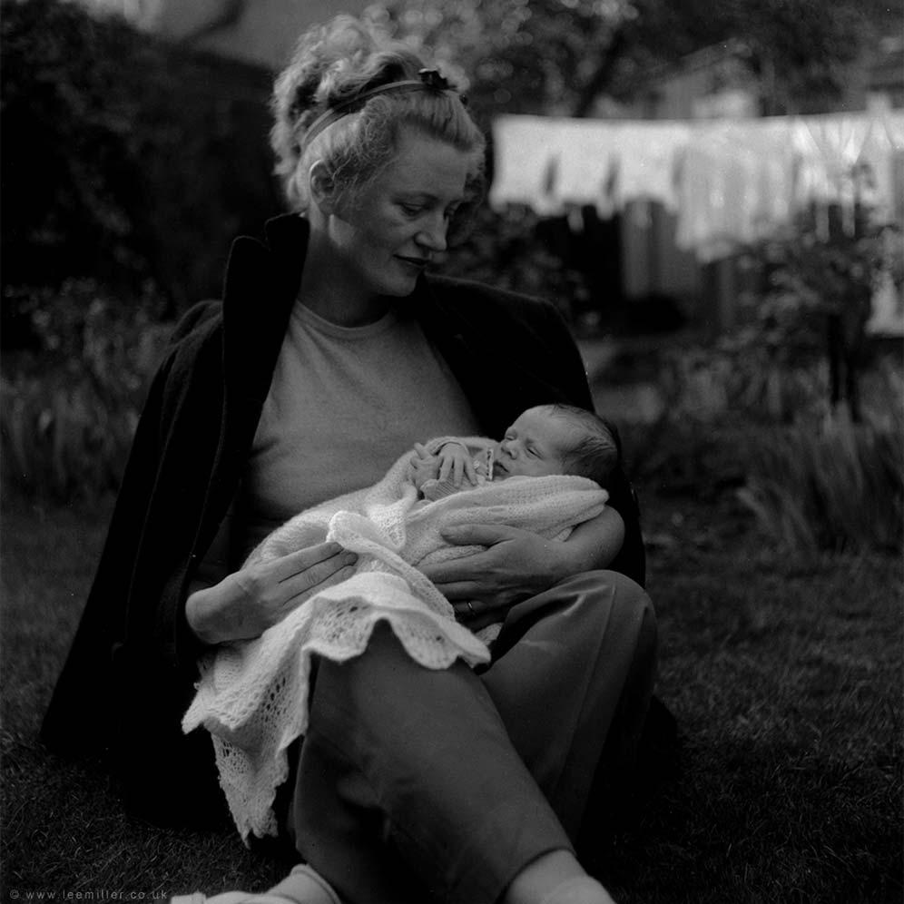 Lee Miller holding her baby son Antony Penrose