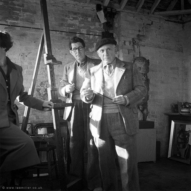 Picasso and Roland Penrose in the studio at Farleys