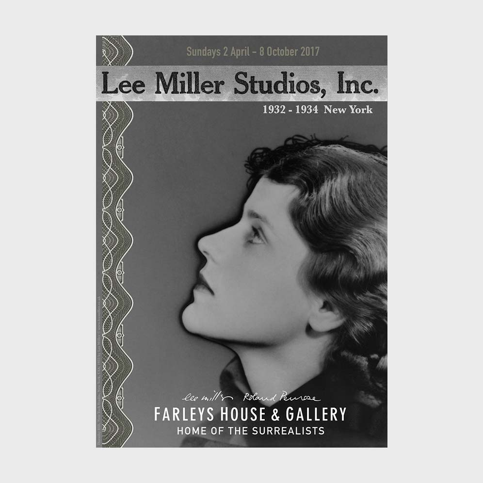 Poster for Lee Miller Studios, Inc exhibition featuring solarised profile of woman