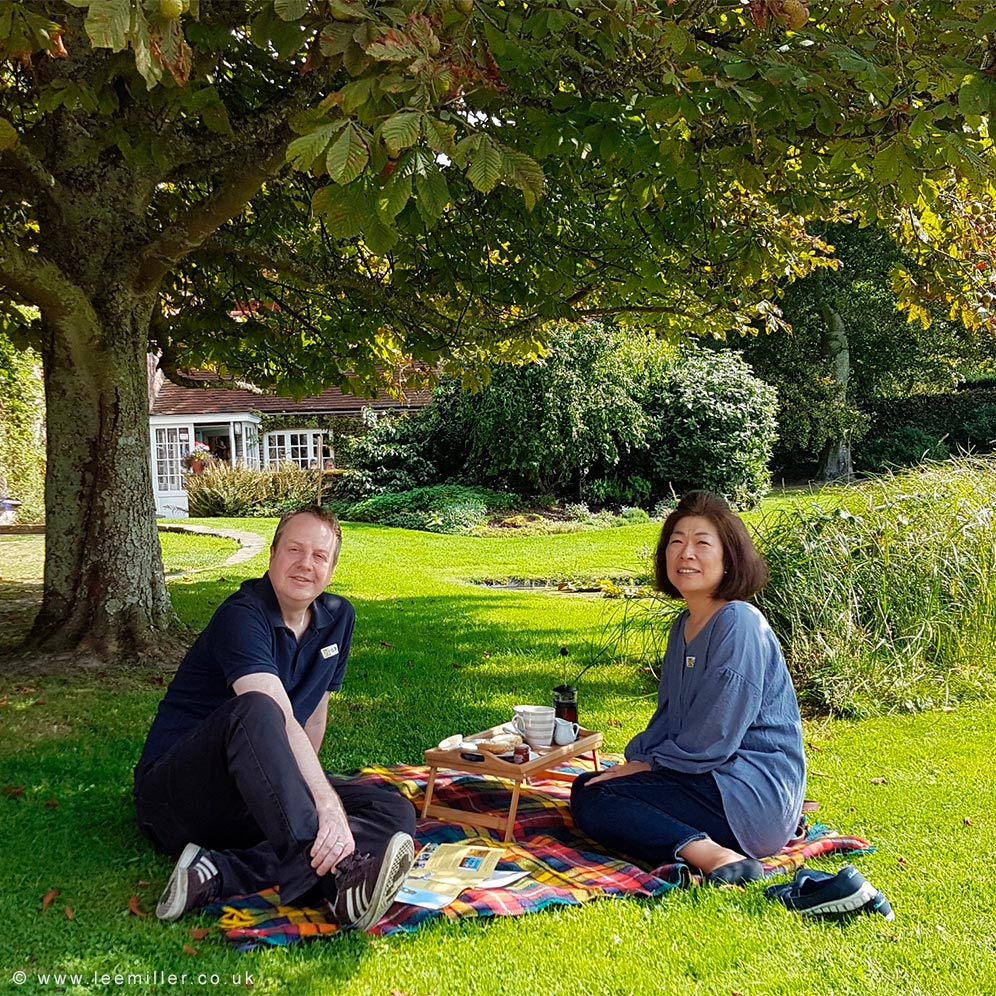 Visitors enjoying cream tea in Farleys garden