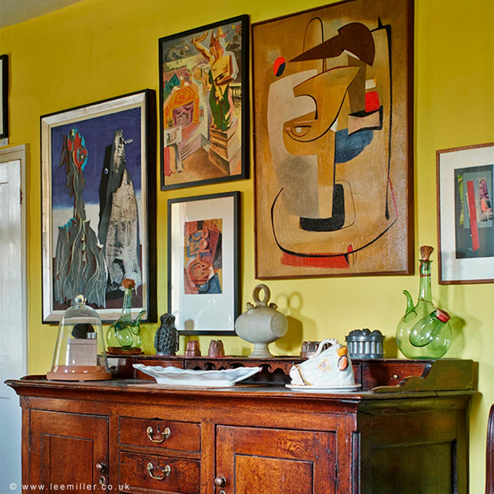 Sideboard and artworks in the dining room of Farleys House