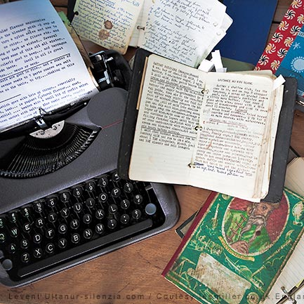 Lee Miller's typewriter and notebooks