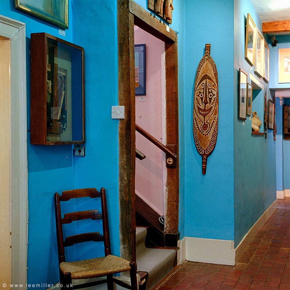 View of art works displayed in the hall of Farleys House