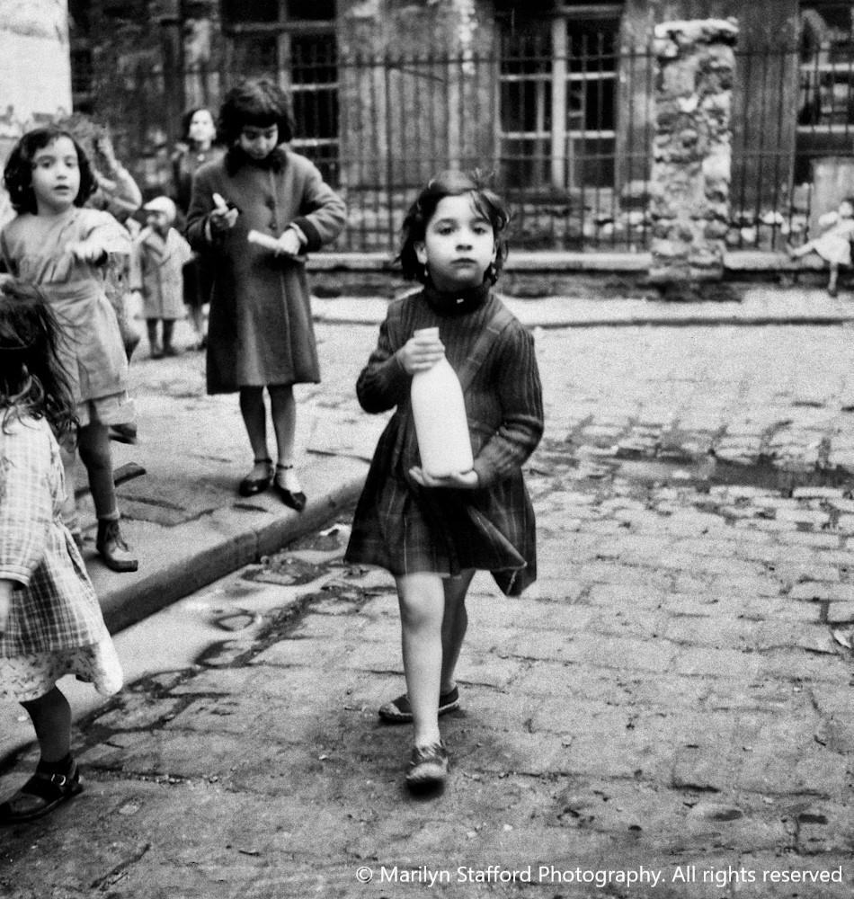 Girl with milk bottle Paris 1950